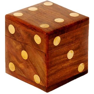 Buy Aeron Wooden Dice Shape Dice Box With 5 Dice Online Get 50 Off