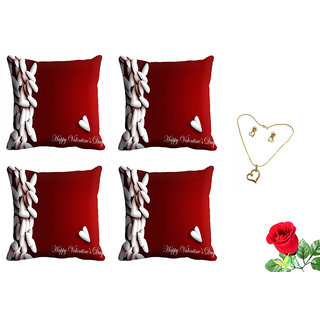meSleep Red Happy Valentine Cushion Cover (16x16) - Set of 4 With Free Artificial Rose and Pendant Set