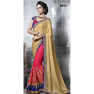 In Fashion Faux Georgetter Crushed & Net Pink Saree