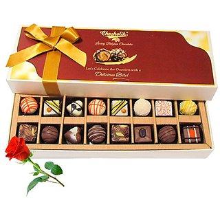 Treats Of Dark And White Chocolates With Red Rose - Chocholik Belgium Chocolates