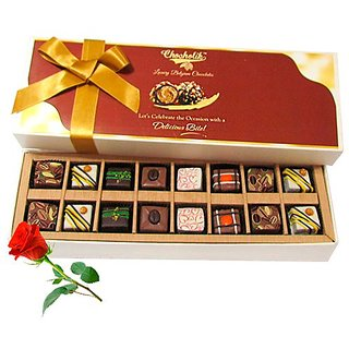 Winsome Creation Of Pralines Chocolates With Red Rose - Chocholik Belgium Chocolates
