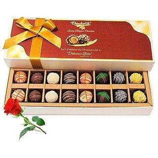 Assorted Truffles With Red Rose - Chocholik Belgium Chocolates