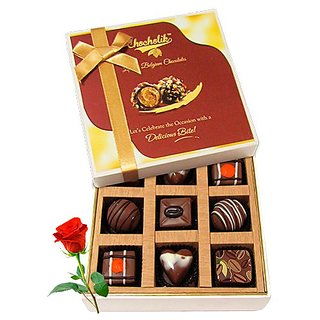 Surprises Of Delightful Chocolates With Red Rose - Chocholik Luxury Chocolates