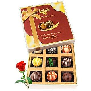 Beautiful Collection Of Chocolates With Red Rose - Chocholik Luxury Chocolates