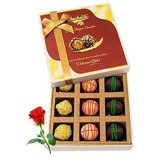 Yummy Chocolates Box With Red Rose - Chocholik Luxury Chocolates