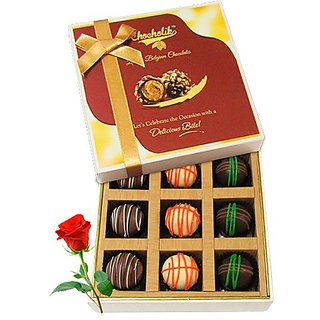 Cheerful Chocolates And Truffles With Red Rose - Chocholik Luxury Chocolates