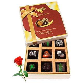 Delicious Dark Chocolate Treats With Red Rose - Chocholik Luxury Chocolates