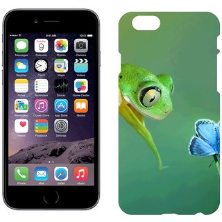 Apple iPhone 6Plus Design Back Cover Case -  Curiosity Butterfly Frog Flower