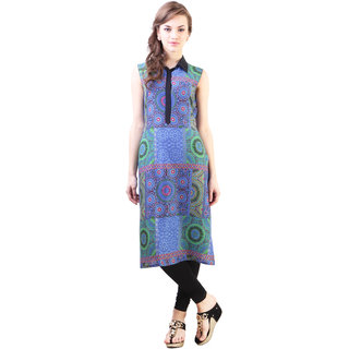 Blue rayon long rayon kurta