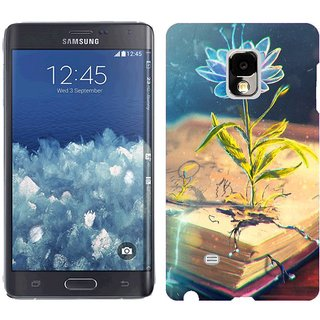 Samsung Galaxy Note Edge Design Back Cover Case -  Black Flower Abstract Book Pen