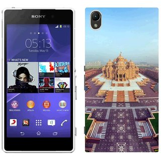 Sony Xperia Z2 L50W Design Back Cover Case - K India Akshardham Temple Beautiful Top View Panorama