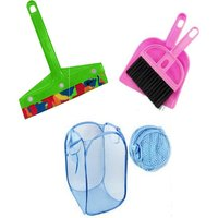 Pink Plastic Combo Of Foldable Net Laundry Bag , Mini Dustpan And Mini Kitchen Wiper