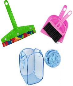 Pink Plastic Combo Of Foldable Net Laundry Bag , Mini Dustpan And Mini Kitchen Wiper