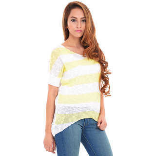 Estance Cotton Knitted Half Sleeves Yellow Sweater