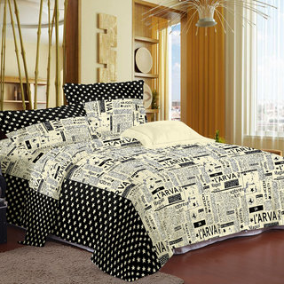 Ahem Homes Black Double Bedsheet With 2 Pillow Cover(FE1104-AH)