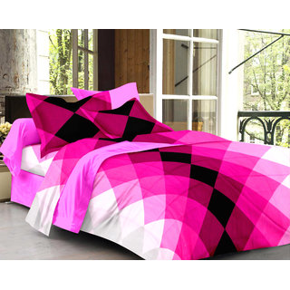 Ahem Homes Pink Double Bedsheet With 2 Pillow Cover(FE1106-AH)
