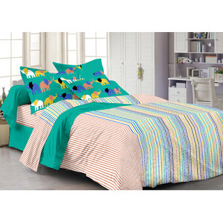 Ahem Homes Multicolor Double Bedsheet With 2 Pillow Cover(MT1235-AH)