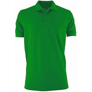 Davie Jones Solid light green in color half sleeves fabric polycotton Men TShirt