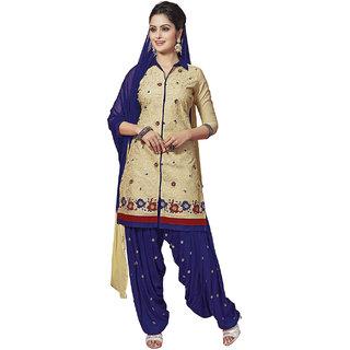 Jevi Prints Beige & Dark Blue Unstitched Cotton Embroidered Salwar Suit Dupatta Material (Kudipatiyala-704)