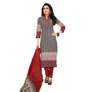 Jevi Prints Black & Maroon Unstitched Pure Cotton Salwar Suit Dupatta Material (Priyanshi-903)