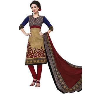 Jevi Prints Beige & Maroon Cotton Printed Unstitched Dress Material (Rangresham-1815)