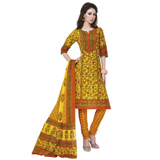 Jevi Prints Gold Cotton Printed Unstitched Dress Material (Rangresham-1820)