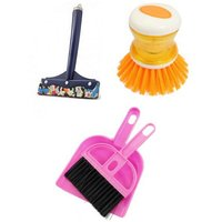 Combo Of Mini Dustpan With Soap Dispenser And Mini Kitchen Wiper