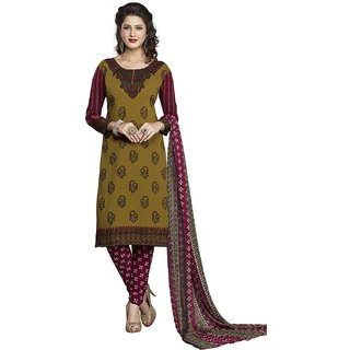 Jevi Prints Brown & Maroon Synthetic Crepe Unstitched Dress Material With Dupatta (Varsha-1274)