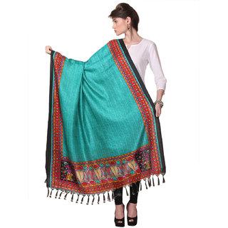 Varanga  Sea Green Designer Bhagalpuri Silk Dupatta BG015
