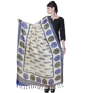 Varanga  Beige Designer Bhagalpuri Silk Dupatta BG020