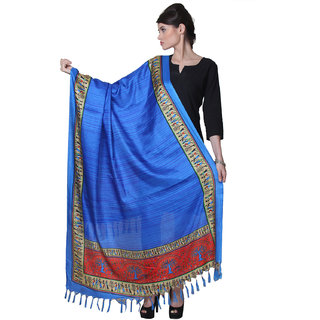 Varanga  Blue Designer Bhagalpuri Silk Dupatta BG021
