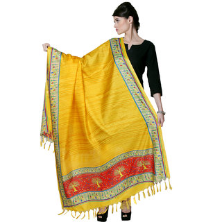 Varanga  Yellow Designer Bhagalpuri Silk Dupatta BG022