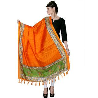 Varanga  Orange Designer Bhagalpuri Silk Dupatta BG024