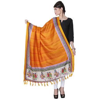 Varanga  Orange Designer Bhagalpuri Silk Dupatta BG025