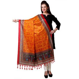 Varanga  Orange Designer Art Silk Dupatta BG035