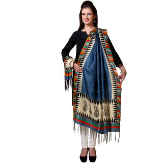 Varanga  Navy Blue Designer Art Silk Dupatta BG037