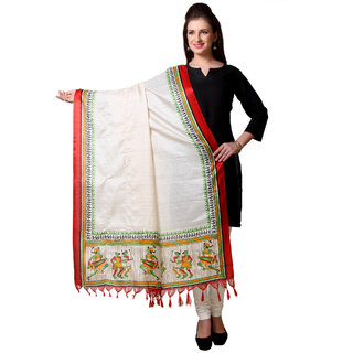 Varanga  Beige Designer Art Silk Dupatta BG044