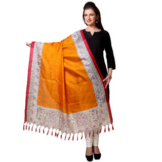 Varanga  Orange Designer Art Silk Dupatta BG048