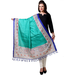 Varanga  Sea Green Designer Art Silk Dupatta BG050