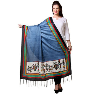Varanga  Navy Blue Designer Art Silk Dupatta BG051