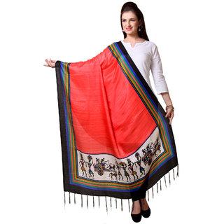 Varanga  Orange Designer Art Silk Dupatta BG053