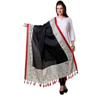 Varanga  Black  Beige Designer Art Silk Dupatta BG056