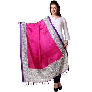 Varanga  Pink  Beige Designer Art Silk Dupatta BG058