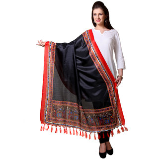 Varanga  Black  Red Designer Art Silk Dupatta BG061
