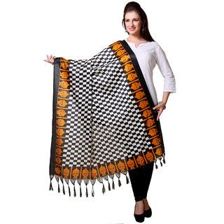 Varanga  Black  Yellow Designer Art Silk Dupatta BG063
