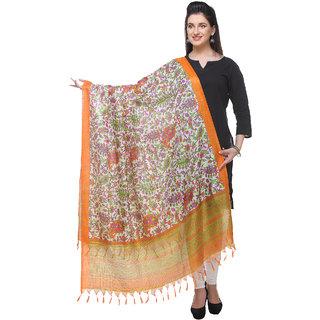 Varanga  orange Printed Bhagalpuri Silk Dupatta BG065
