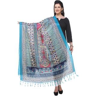 Varanga  bluemulticolor Printed Bhagalpuri Silk Dupatta BG075