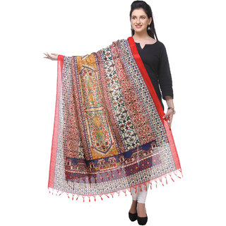 Varanga  redmulticolor Printed Bhagalpuri Silk Dupatta BG077
