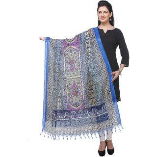 Varanga  bluemulticolor Printed Bhagalpuri Silk Dupatta BG080