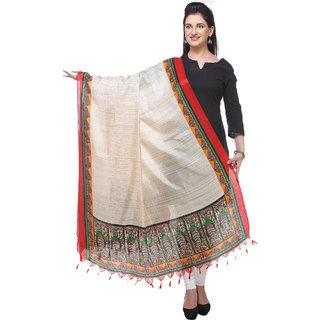Varanga  redcream Printed Bhagalpuri Silk Dupatta BG081